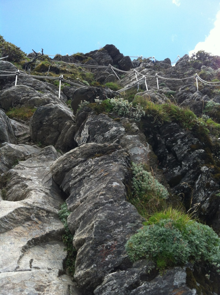Ropes to help hikers climb down the rocks