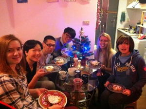SMALLER GROUP EVENT #1: The final small group of the church semester was a Christmas scavenger hunt through Ximen that ended at my house with hot tea and Christmas pancakes!